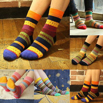 Fashion Women Men Unisex Stripe Cotton Socks Design Multi-Color Dress Socks E7
