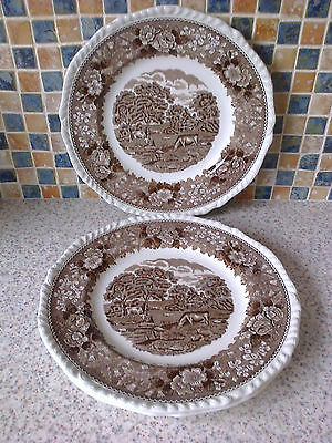 Adams Small Dinner Plates X 3 Cows Grazing English Scenic Brown Fluted Edge