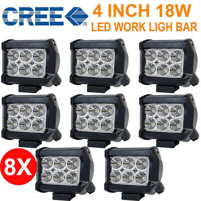 8PCS 4inch 18W Cree LED Work Light Bar Driving Lamp Spot Truck Offroad Boat AU