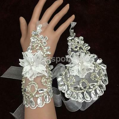 Bridal Wedding Party Hollow Fingerless Lace Floral Bridal Sparkle Gloves