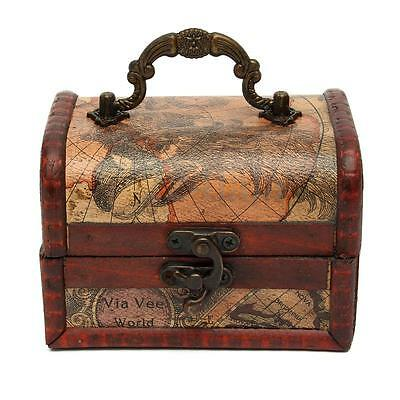 Vintage Maps Gracious Wooden Jewelry Box Storage Organizer Case Decorative Gift