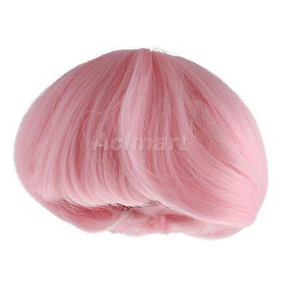 Stylish Chignon Hairstyle Wig Full Hairpiece for 1/6 BJD DOC DOD Dolls Pink