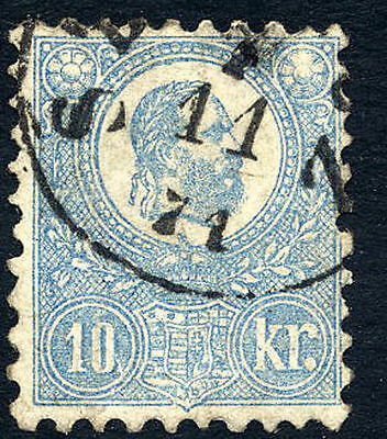 HUNGARY 1871 10k. milky blue lithographed, fine used