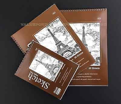 "(Set of 3) Premium SKETCH BOOK Paper Pad 6"" x 8"", 8.5"" x 11"", 9"" x 12"" Spiral F9"