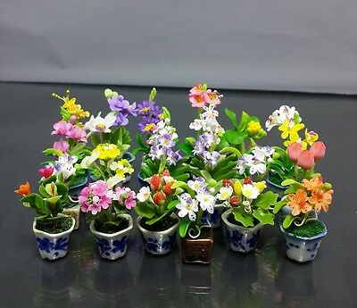 Variety Set of 50 Dollhouse Miniature Flower Plant Pots Ceramic Garden Handcraft