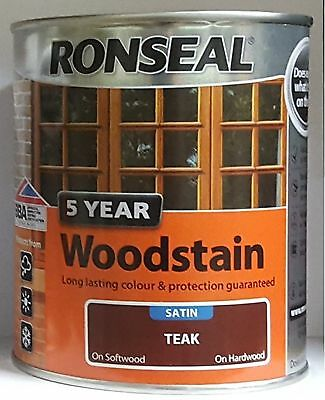 ronseal 5 year woodstain 250ml 750ml 2.5ltr satin all colours