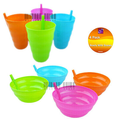 8 x Sip a Bowl & Sip a Cup for Kids Plastic Sippy Bowl & Cup with Built in Straw