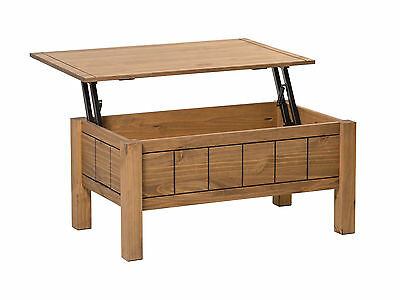 Corona Lift Up Coffee Table with Storage - Mexican Solid Wood Waxed Pine