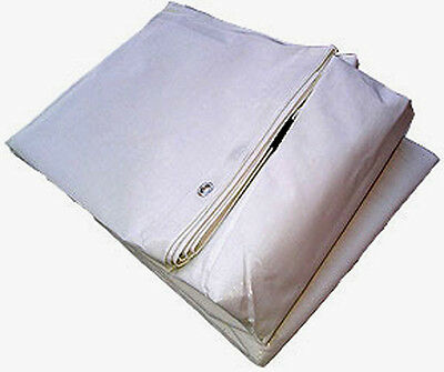 White Market Stall Tarpaulin Cover Boat Car Building Sheet 2.7M x 3.6M