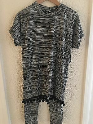 FCL Girls Pom Pom Lounge Suit Age 4 Years Grey Mix Short Sleeves