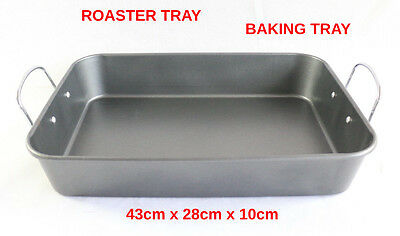 Large Roaster Tray Roasting Cooking Oven Baking Tray Tin Dish Steel Kitchen Pan