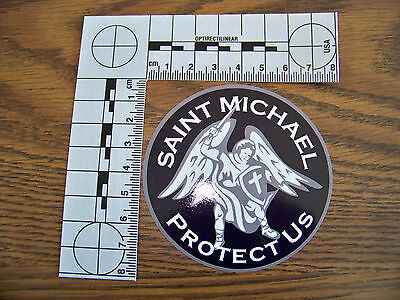 "Thin Blue Line ""St. Michael Protect Us""  Police Decal Top Quality & SHIPS FREE!"