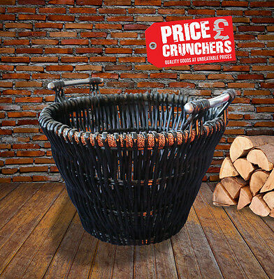 Vintage Large Wicker Log Basket Coal Holder Laundry Toys Storage Wood Carrier
