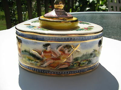 Vintage Capodimonte Raised Hand Painted Porcelain Inkwell Marked Italy Numbered