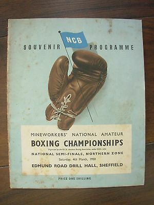 VINTAGE BOXING PROGRAMME NCB MINEWORKERS NATIONAL CHAMPIONSHIPS MARCH 4th 1950