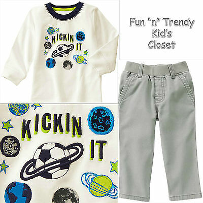 NWT Gymboree STAR BRIGHTS Boys Size 4T 5T Twill Pants Tee Shirt 2-PC OUTFIT SET