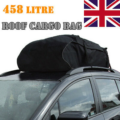 458 Litre Universal Car Roof Cargo Carrier Car Roof Bag Waterproof Travel Black