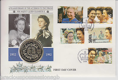 Samoa Fdc Pnc Coin Cover 1992 Qeii Accession Anniversary $1 Dollar Coin