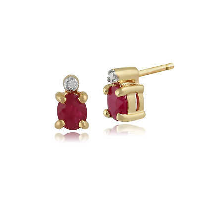 9ct Yellow Gold 0.44ct Ruby & Diamond Classic Stud Earrings