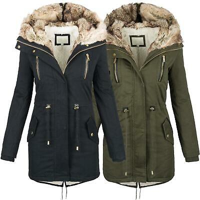 Warme Damen Winter Jacke Parka Langer Mantel Winterjacke Fell Kragen
