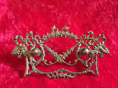 """1 Antiqued Bronze Color Brass Drawer Handle with 5  3/4"""" Floral"""