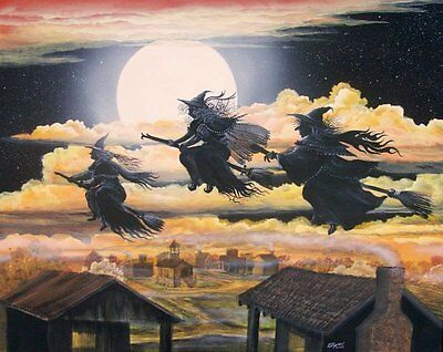 FoLk Art Halloween Three Witches Flying Over Town Cats  PRINT