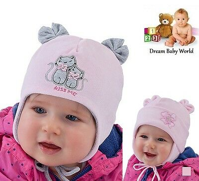 Cotton AUTUMN WINTER Baby GIRL hat SPRING size 0 - 18 months GIRLS Tie up CAP