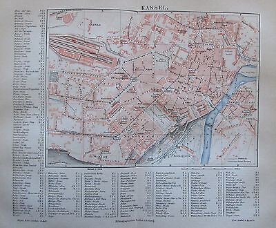 1888 KASSEL HESSEN DEUTSCHLAND alter Stadtplan antique city map Lithographie