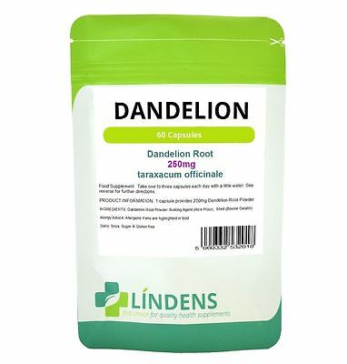 Dandelion 250mg Whole Root Capsules 60 or 365 Liver Detox Water Retention Skin