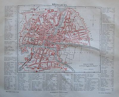 1888 KÖNIGSBERG alter Stadtplan antique city map Lithographie