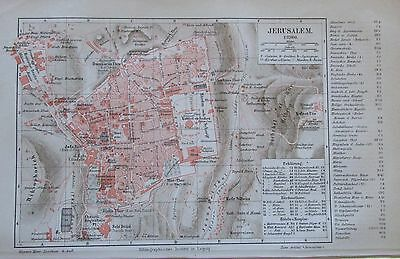 1888 Jerusalem Israel alter Stadtplan antique city map Lithographie