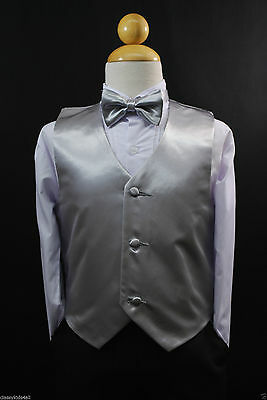 Children Teen Boys SILVER VEST + BOW TIE for Wedding Formal Suits Tuxedo Sz S-28