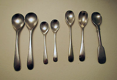 English Silver Plate Small Salt Pot MUSTARD Condiment SPOON Argentina Wear Wite