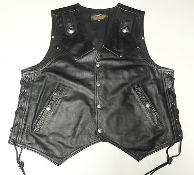 Harley Davidson Thick Black Leather Heritage Concho Vest Mens Xl Made In Usa 199
