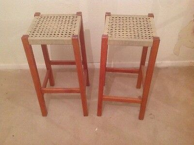 Pair of Vintage Retro Wooden 1970s Bar Kitchen Stools Seats Excellent Condition