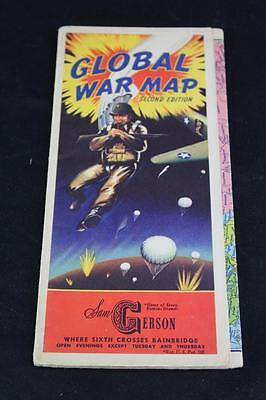Authentic WWII Era Global War Map Second Edition in VG+/EX Condition Free S&H