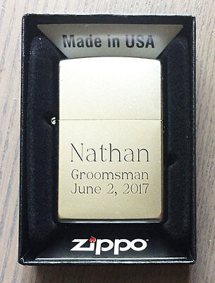 Custom Engraved Zippo 205 Satin Chrome Personalized Lighter Free Engraving, New