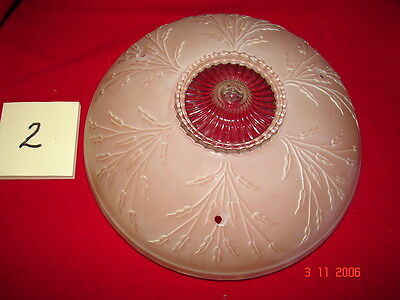 Art Deco Depression Era Ceiling Shade #2 - Pink & Clear Flowers - 3 Hole Mount