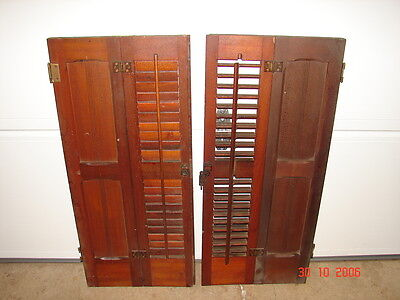 1 Set Antique  Pine Eastlake Victorian Interior Panel & Louver Window Shutters