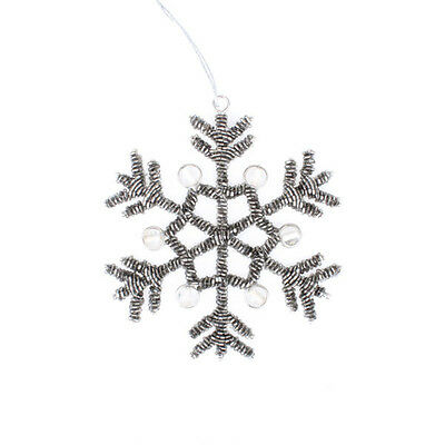 Charcoal Beaded Snowflake with Crystals