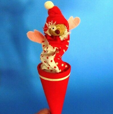 Vintage CLOWN Doll Toy Pop up Rod Cone Wood Felt Red White Peek a Boo Puppet