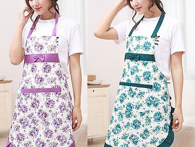 Women's bib kitchen cooking floral prin waterproof bowknot apron with pockets