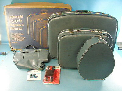 """Vtg Lot of 5 Finger Hut Lightweight Suitcase Retro Space Age Luggage + 72"""" Strap"""