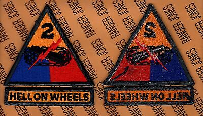 US Army 2nd Armored Division HELL ON WHEELS w tab Armor Tank patch m/e