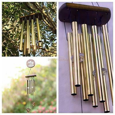 8 Tubes Bell Bronze Tube Wind Chimes Home Room Outdoor Garden Hanging Decor HOT