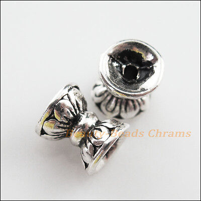 4Pcs Tibetan Silver Tone Flower Spacer Beads End Caps Charms 8x9.5mm