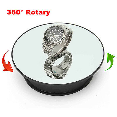 """New 8"""" Top Mirror Glass Rotating Rotary Display Stand Turntable Battery Powered"""