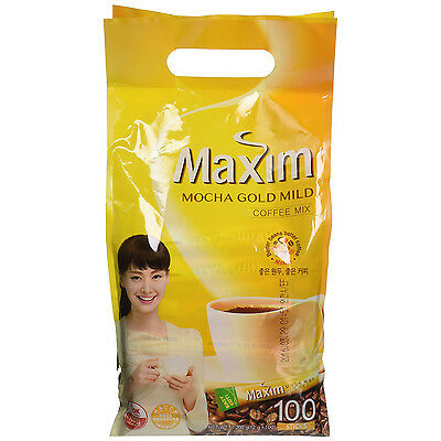 [100 Sticks] Maxim Mocha Gold Mild Coffee Mix Easy Cut + Free Tracking Number