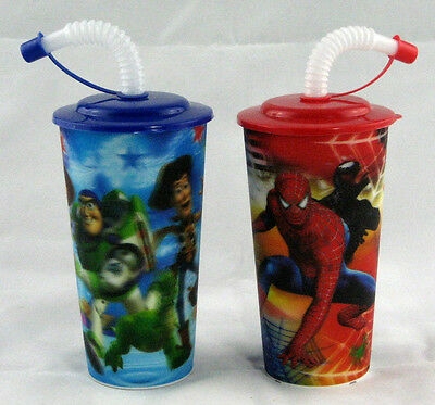 Mix 40 X 3D Image Spiderman / Toy Story 400ml Plastic Kids Cold Drink Straw Cup