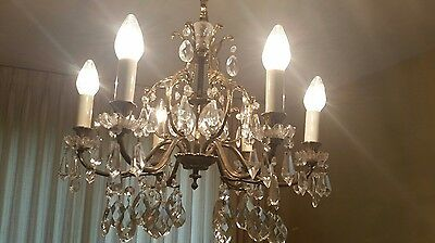 Antique/ Vtg 6 LIGHT CRYSTAL BRONZE Cystals   CHANDELIER VINTAGE